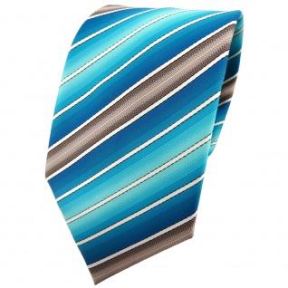 TigerTie Krawatte türkis wasserblau ozeanblau creme braun gestreift - Binder Tie