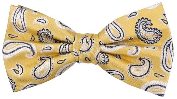TigerTie Seidenfliege gelb silber anthrazit Paisley gemustert - Fliege Seide