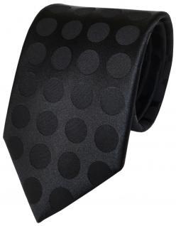 schöne TigerTie Designer Seidenkrawatte in schwarz einfarbig gepunktet