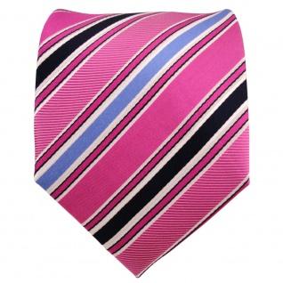 Designer Seidenkrawatte rosa pink telemagenta blau weiß gestreift - Krawatte - Vorschau 2