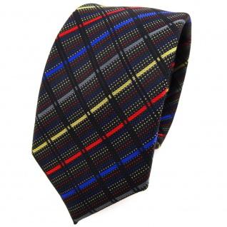 Schmale TigerTie Krawatte in gold anthrazit blau rot schwarz gestreift - Schlips