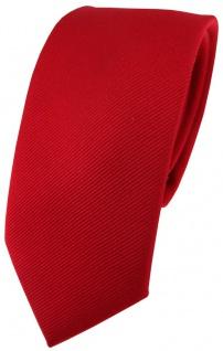 schmale Seidenkrawatte rot feuerrot einfarbig rips struktur - 100% reine Seide