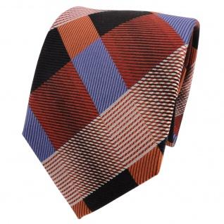 TigerTie Designer Seidenkrawatte braun blau schwarz kariert - Krawatte Seide