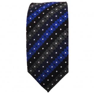 Schmale TigerTie Krawatte blau schwarz anthrazit silber gestreift - Binder Tie - Vorschau 2