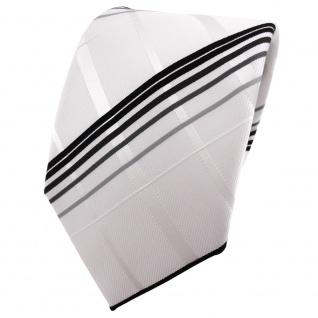 TigerTie Satin Krawatte weiß reinweiß silber grau schwarz kariert - Binder Tie