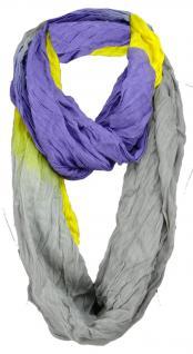 gecrashter TigerTie Loop Schal in gelb lila grau Uni - Gr. 160 x 50 cm