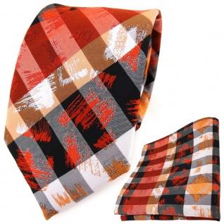 TigerTie Designer Krawatte + Einstecktuch orange grau silber schwarz gestreift