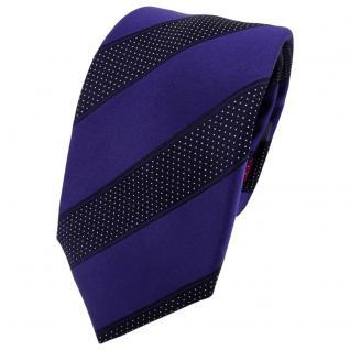 Enrico Sarto Seidenkrawatte blau dunkelblau silber gestreift - Krawatte Seide