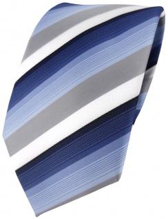 TigerTie Designer Krawatte in blau dunkelblau grau weiss gestreift - Tie Binder