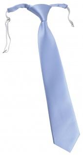 TigerTie Kinderkrawatte in hellblau einfarbig Uni - vorgebunden mit Gummizug