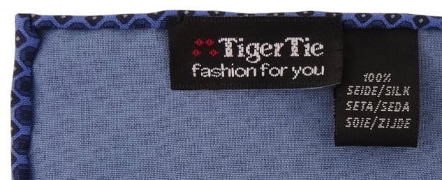 TigerTie handrolliertes Seideneinstecktuch in dunkelblau blau marine gemustert - Vorschau 2