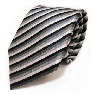 Seidenkrawatte schwarz anthrazit grau silber gestreift - Krawatte 100 % Seide