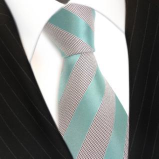 TigerTie Seidenkrawatte mint grün helles türkis silber gestreift - Krawatte