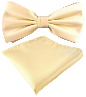 TigerTie Satin Fliege + Einstecktuch in beige creme Uni einfarbig + Geschenkbox