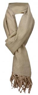 TigerTie Schal in braun gemustert mit kleinen Karos -Baumwolle/Seiden Mischung