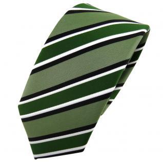 Schmale TigerTie Designer Krawatte grün schwarz weiß gestreift - Schlips Tie