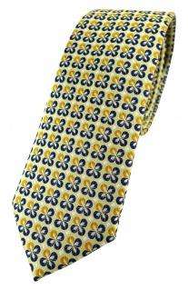 schmale TigerTie Designer Krawatte in gelbgold silber marine gemustert