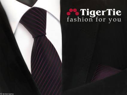 schöne TigerTie Krawatte + Einstecktuch in lila violett schwarz gestreift