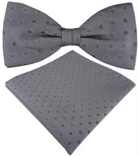 TigerTie Seidenfliege + Seideneinstecktuch grau silber mit kleine Quadrate + Box