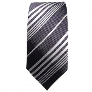 Schmale TigerTie Krawatte anthrazit schwarz silber grau gestreift - Tie Binder - Vorschau 2
