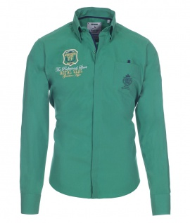 Pontto Designer Hemd Shirt in grün einfarbig langarm Modern-Fit Gr. XL