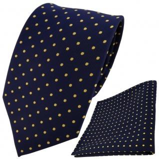 TigerTie Designer Krawatte + Einstecktuch blau dunkelblau marine gold gepunktet