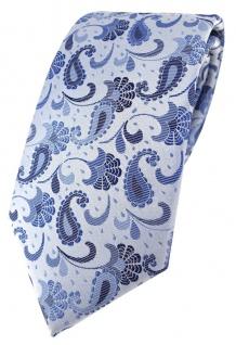 TigerTie Designer Krawatte in blau silberblau silber Paisley gemustert