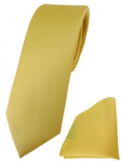 schmale TigerTie Designer Krawatte + Einstecktuch in gelbgold einfarbig uni