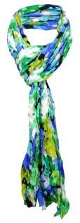 gecrashter Schal grün blau türkis weiß gemustert mit Lochstanzung - 180 x 50 cm