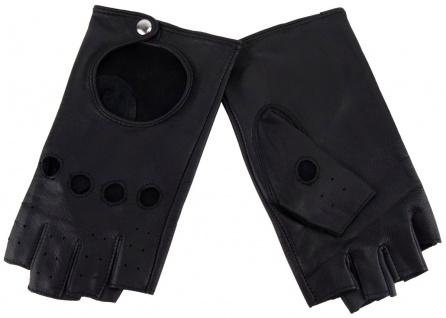 Damen Handschuhe fingerlos - hochwertiges weiches Schafsleder in schwarz - Gr. 8