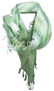 TigerTie Halstuch grün silberfaden hellgrün kariert mit Fransen - Gr. 90 x 90 cm