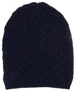 Damen Strickmütze dunkelblau Uni - Wintermütze Mütze Gr. (dehnbar zwischen M-L)