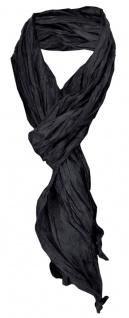 gecrashter TigerTie Seidenschal in schwarz einfarbig - Schal Gr. 180 x 50 cm
