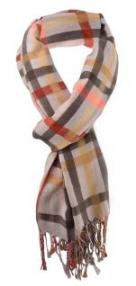 Damen Schal braun beige schwarz lachs kariert Gr. 180 cm x 68 cm - Tuch Halstuch