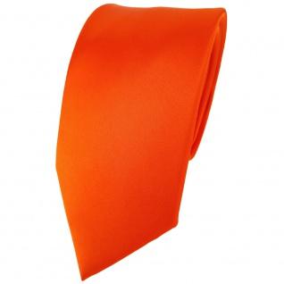 Modische TigerTie Satin Seidenkrawatte orange einfarbig - Krawatte 100% Seide