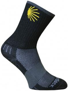 WrightSock Wandersocke -anti-blasen system- Socke schwarz - Stick Jakobsweg Gr.M