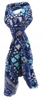 Schal in türkis blau dunkelblau grau beige gemustert - Schal Größe 180 x 50 cm