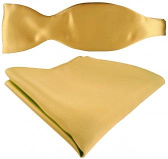 Selbstbinder + TigerTie Satin Einstecktuch in Uni gold hellgold - 100% Seide