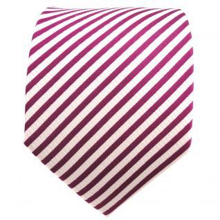 TigerTie Designer Seidenkrawatte magenta fuchsia weiß gestreift - Krawatte Seide - Vorschau 2