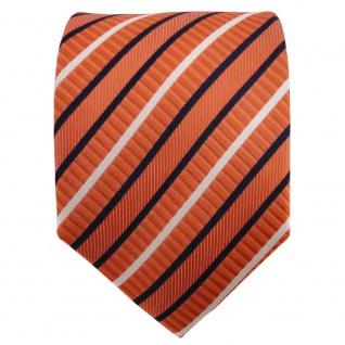 TigerTie Seidenkrawatte orange blau weiß gestreift - Krawatte 100% Seide - Vorschau 2