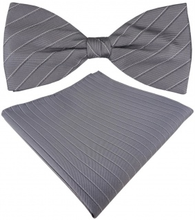 TigerTie Seidenfliege + Seideneinstecktuch grau silber gestreift gemustert + Box
