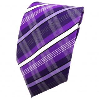 TigerTie Krawatte lila dunkellila weiß schwarz grau gestreift - Binder Tie