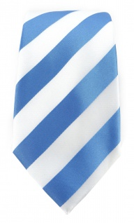 TigerTie Designer Krawatte in blau weiss gestreift - Vorschau 2