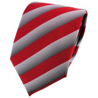 TigerTie Designer Krawatte verkehrsrot silbergrau gestreift - Binder Tie