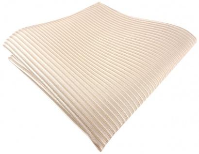 TigerTie Seideneinstecktuch in beige creme gestreift - 100% Seide - 25 x 25 cm