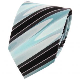 TigerTie Designer Krawatte mint grün schwarz anthrazit grau gestreift - Binder
