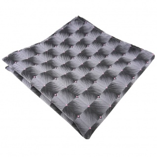 TigerTie Einstecktuch grau silber anthrazit rosa gepunktet - Tuch 100% Polyester