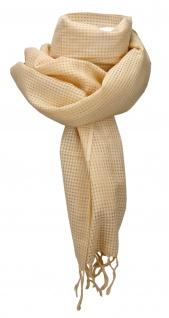 Chiffon Schal in ocker ockergelb Uni kariert mit Fransen - Gr. 170 x 100 cm