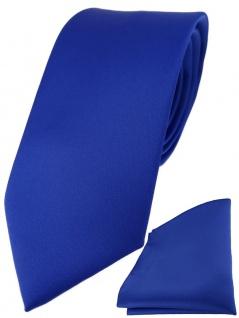 TigerTie Designer Krawatte + TigerTie Einstecktuch dunkles royalblau einfarbig