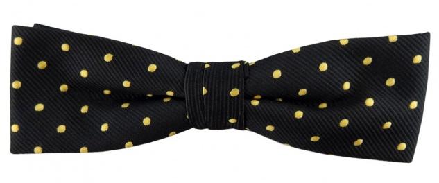 schmale TigerTie Fliege schwarz gold gepunktet + Box, 33 bis 50 cm verstellbar
